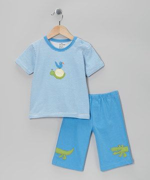 Another great find on #zulily! My O Baby Blue Stripe Organic Tee & Shorts - Toddler by My O Baby #zulilyfinds