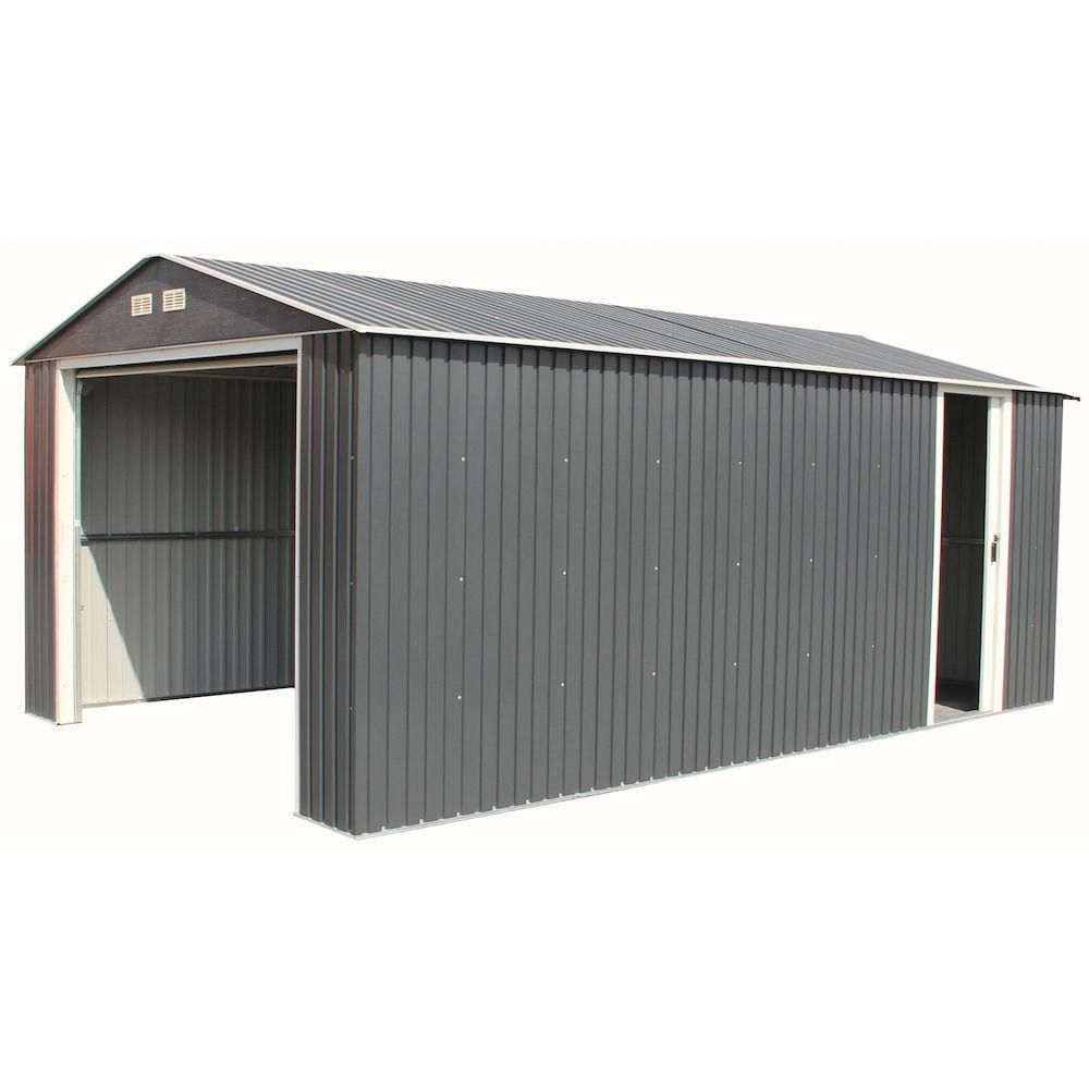 Duramax Building Products Imperial 12 Ft X 20 Ft Metal Garage Shed In Dark Grey With White Trim 50951 The Home Depot Metal Garages Metal Garage Buildings Garage Door Styles
