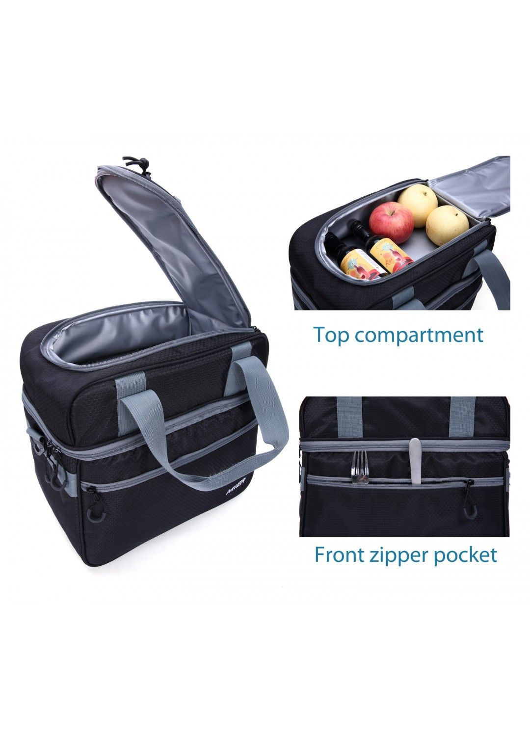 Mier Double Compartment Cooler Bag Large Insulated Bag For Lunch Picnic Beach Grocery Kayak Travel Camping Black Picnic Bag Fun Bags Bags