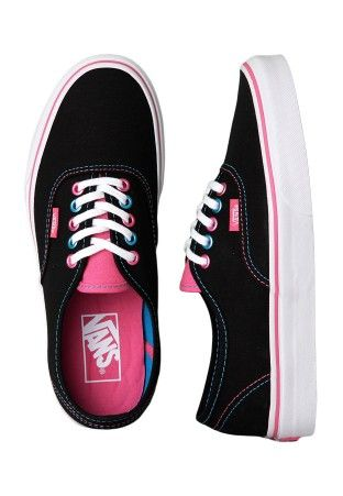 Vans - Authentic Pop Eyelets Black/Blue Juwel - Girl Shoes ...
