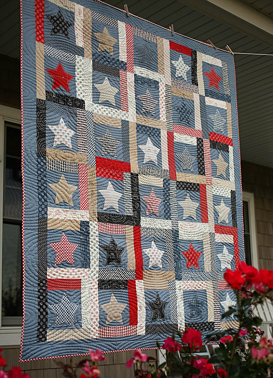 Give This Americana Quilt Any Personality is part of Patriotic quilts, Flag quilt, American flag quilt, Blue quilts, Quilts, American quilt - Choose Fabric You Love to Make it Your Own! Simple blocks and appliqued stars come together in a lovely Americana quilt  Denim blues, tans and reds give it an inviting homespun look to enjoy any time of the year  The Log Cabin style blocks go together quickly, while fusible applique makes quick work of the …