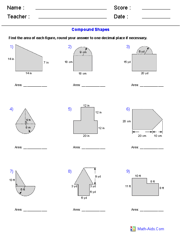 Area of Compound Shapes Adding Regions Worksheets | Math-Aids.Com ...