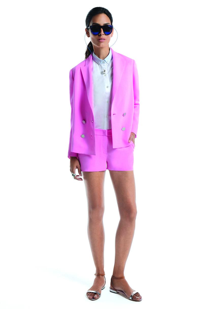 hot pink lady suit.