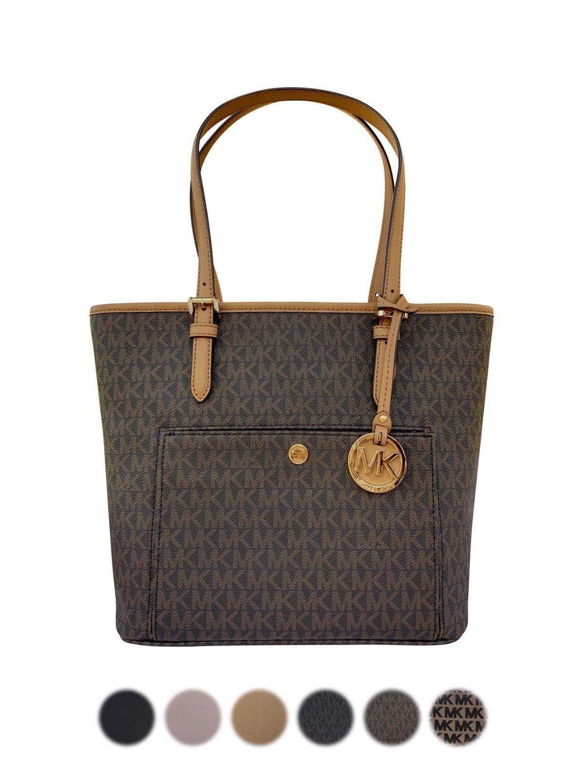 Blackfridaydeal Michael Kors Jet Set Medium Top Zip Snap Pocket Tote Fashion Deals Black