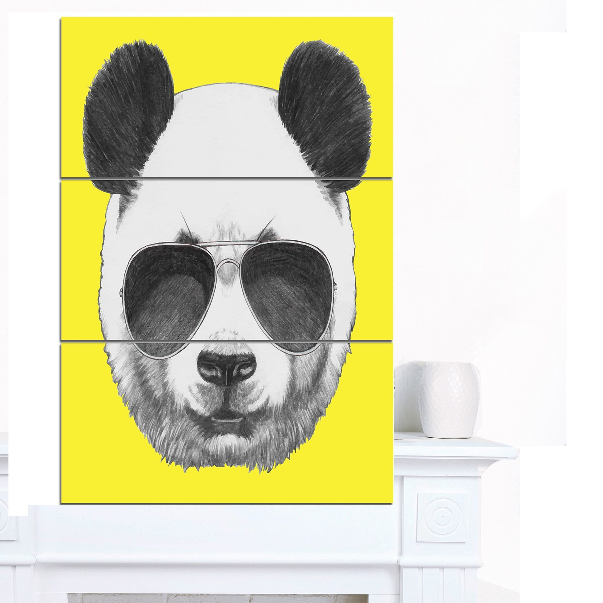 Designart \'Funny Panda with Sunglasses\' Large Animal Wall Artwork by ...
