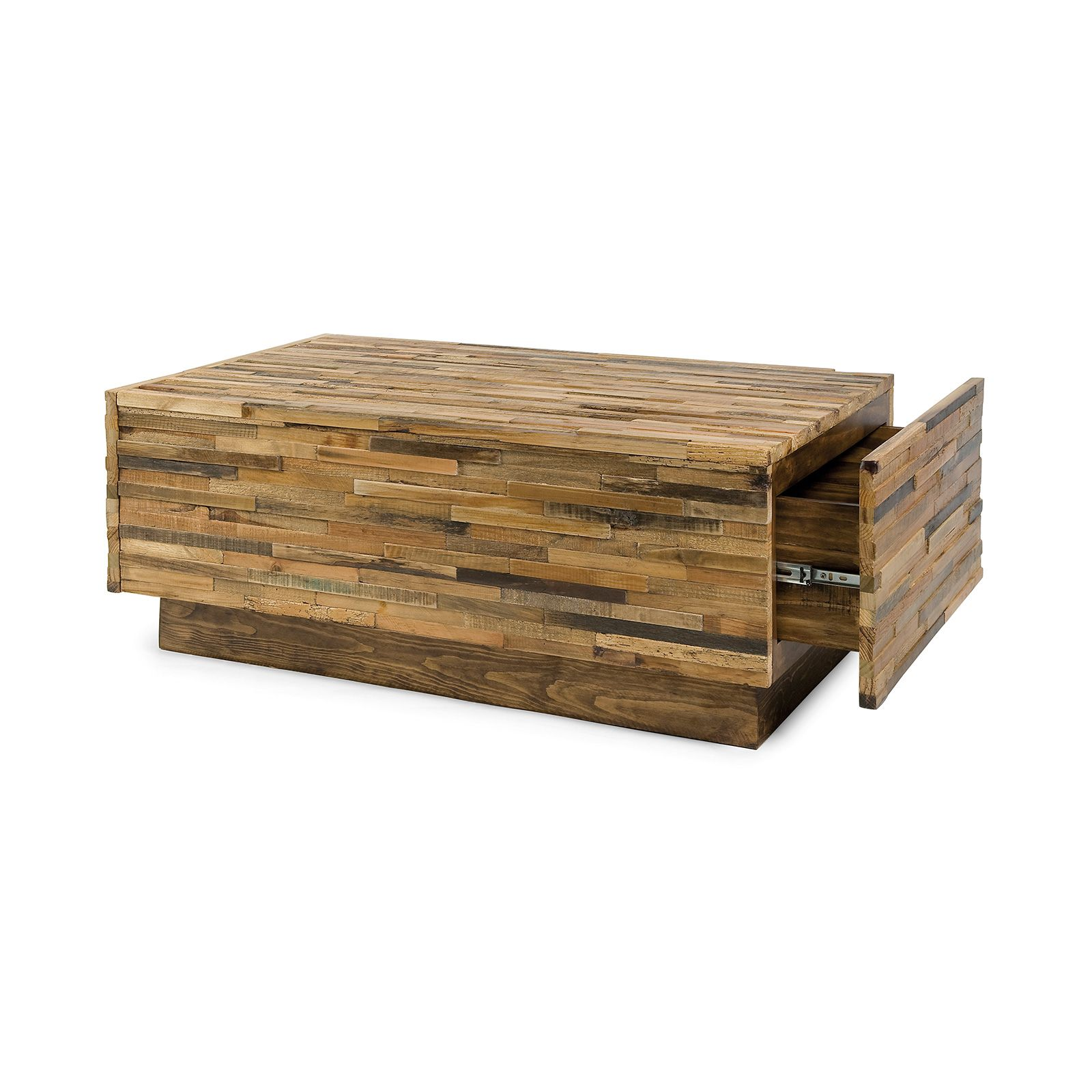 Reclaimed Wood Coffee Table With Sand Tones And Varied Grains Two Concealed Drawers Lend The Piece Functionality Without Taking Away From Its