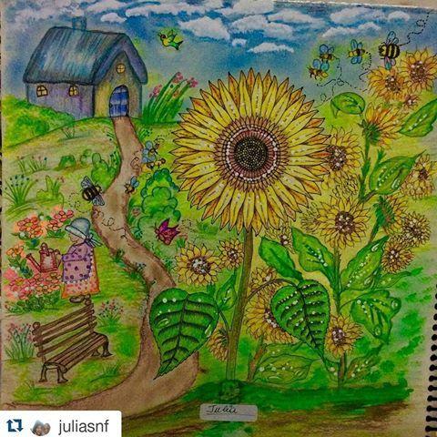 Girassol Lindo By Juliasnf Jardimsecreto Desenhoscolorir Johannabasford Secretgarden Florestaencantada