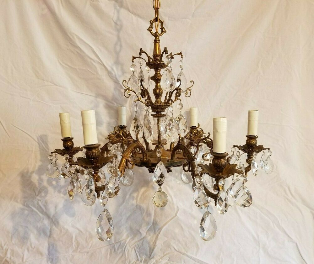 Details About Vtg Old Empire Brass Chandelier 6 Fine Arm Ceiling
