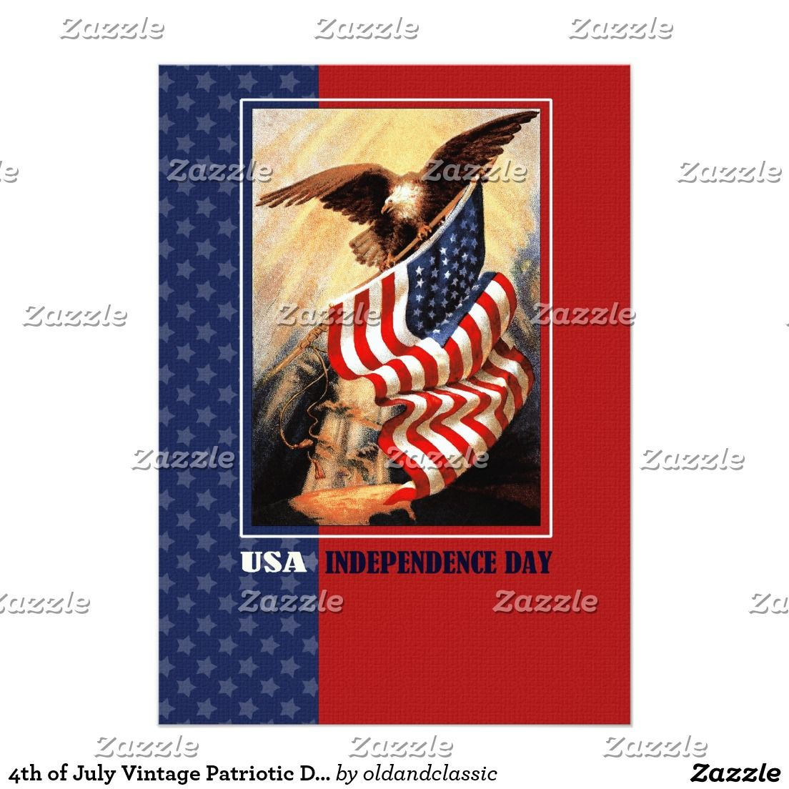 4th Of July Usa Independence Day Patriotic Design Flat Greeting