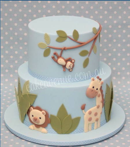 Baby Shower Cakes Jungle Animals ~ Safari jungle cake perfect for a baby shower boy or