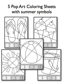 Summer Pop Art Interactive Coloring Sheets With Writing Pr Art Worksheets Summer Coloring Pages Art Lessons