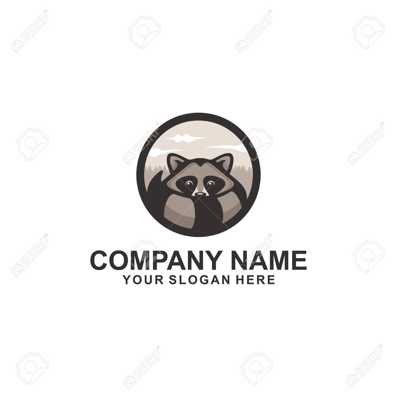 Raccoon logo design Illustration , ad, logo, Raccoon,