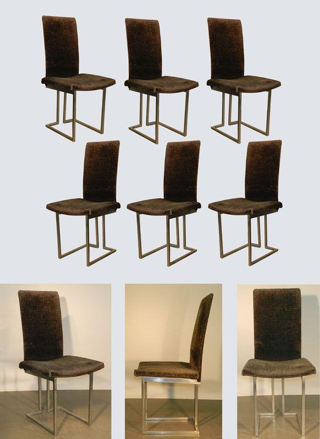 Mod 511 Suite De 6 Chaises 1970 En Metal Chaise Design Chaise Deco Recup