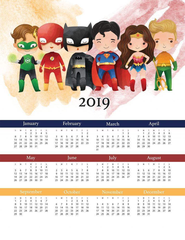 Liga Promises Calendario.Free Printable 2019 Justice League One Page Calendar With