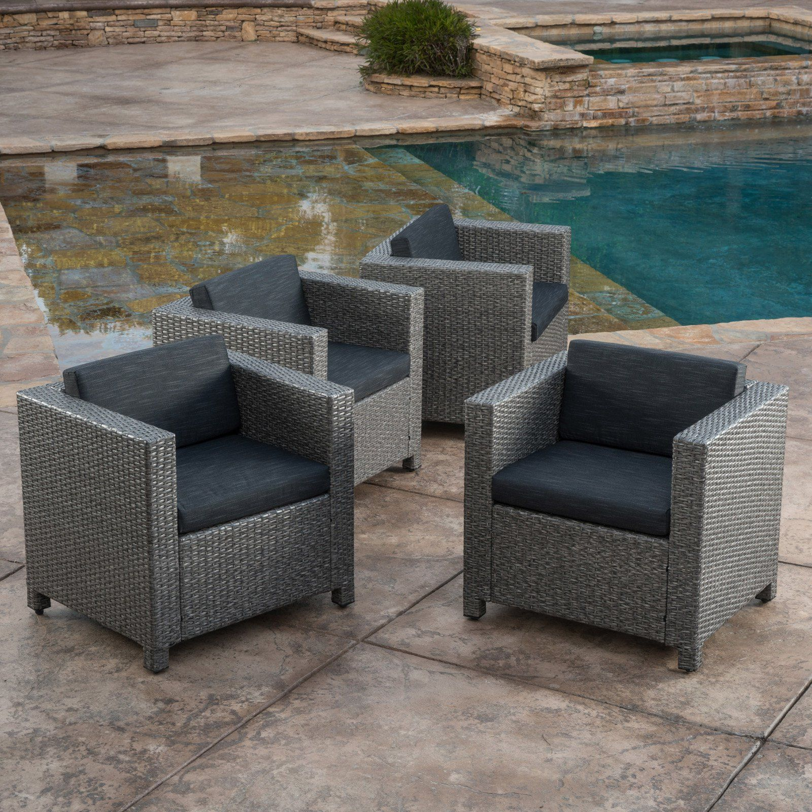 Fantastic Puerta Outdoor Club Chairs With Cushion Set Of 4 Cjindustries Chair Design For Home Cjindustriesco