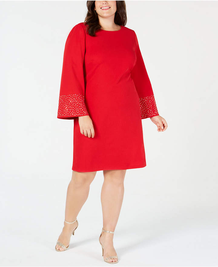 1f3a2752d2b90 Jessica Howard Plus Size Studded Flare-Sleeve Shift Dress | Products ...