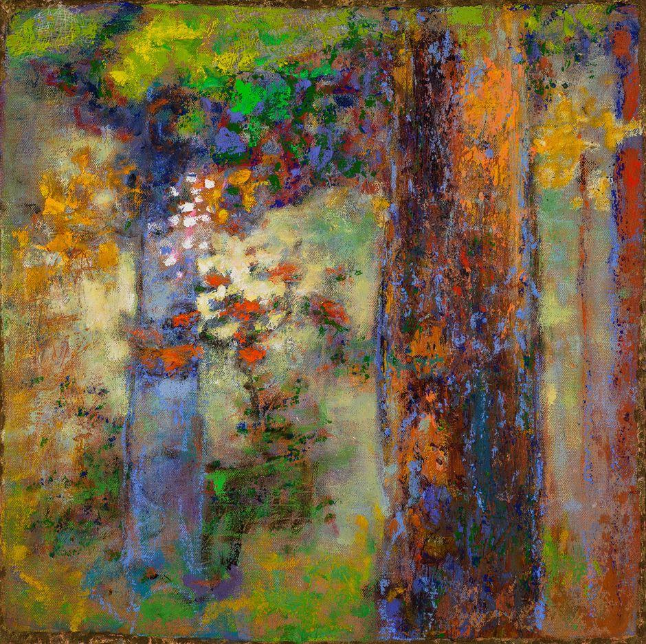 Rick Stevens, The Soft Touch of Morning Light, Oil on Canvas, Framed, 15x15