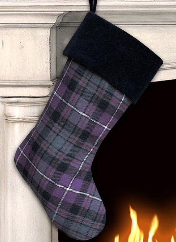 Purple Wool Plaid Christmas Stocking with by MeredithRosePetal
