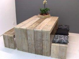 Houten tafel éen kant een bank cut wood gather stone meubels
