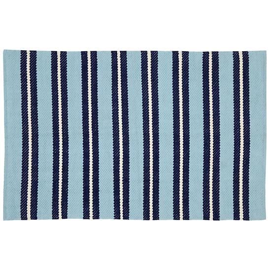 We designed this 100% cotton, hand loomed Dockside Rug to add a nautical look to your home.