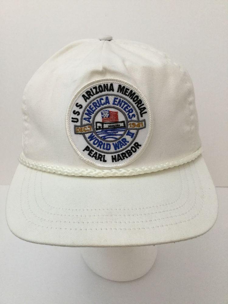vintage uss arizona memorial pearl harbor snap back white hat cap