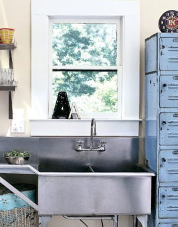STAINLESS SINK W/DRAINBOARD Sink And Faucets   Ideas For Kitchen Sinks And  Faucets   Country Living Industrial Theme Choose A Restaurant Style ...