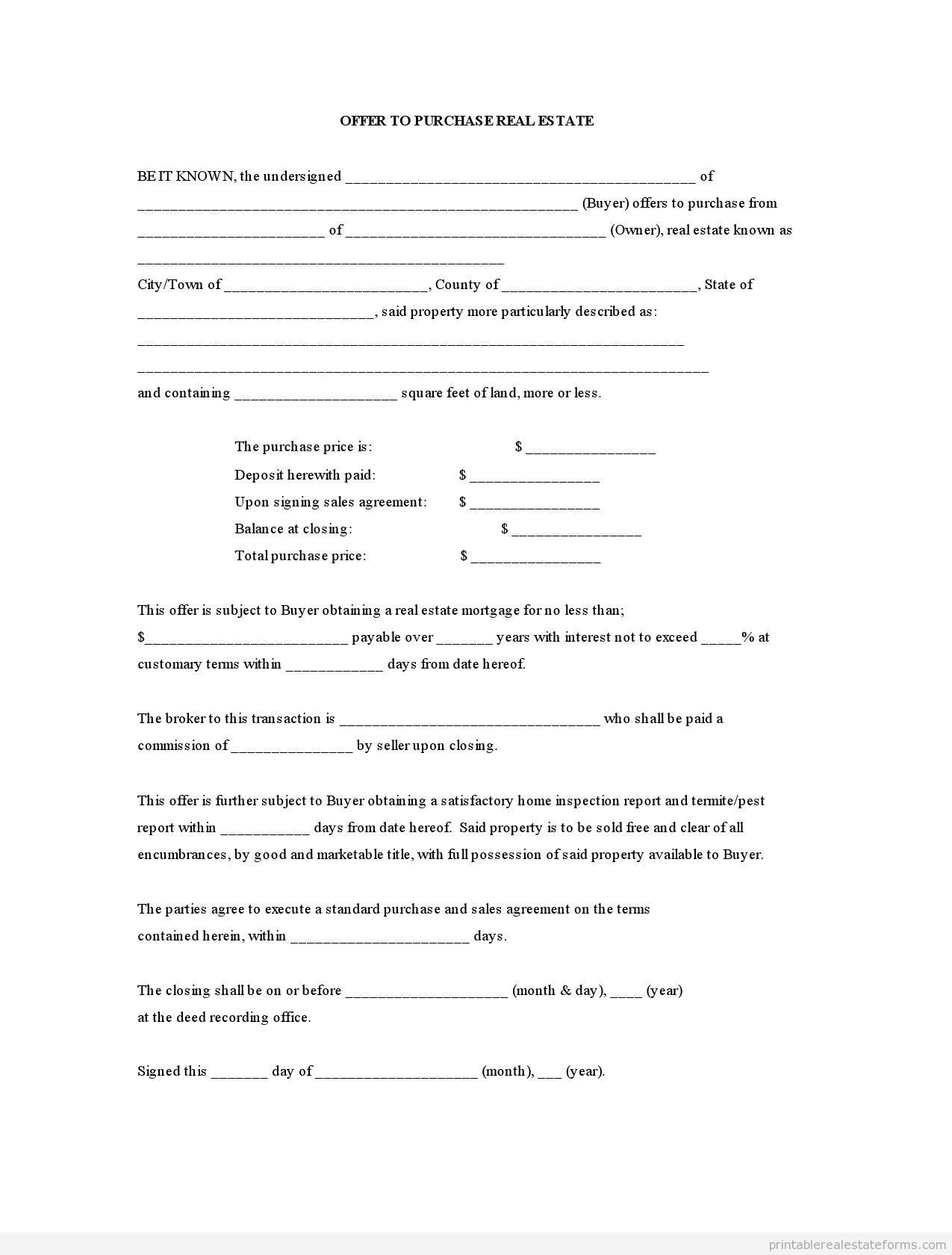 Printable Sample Offer To Purchase Real Estate Form Generic Sample