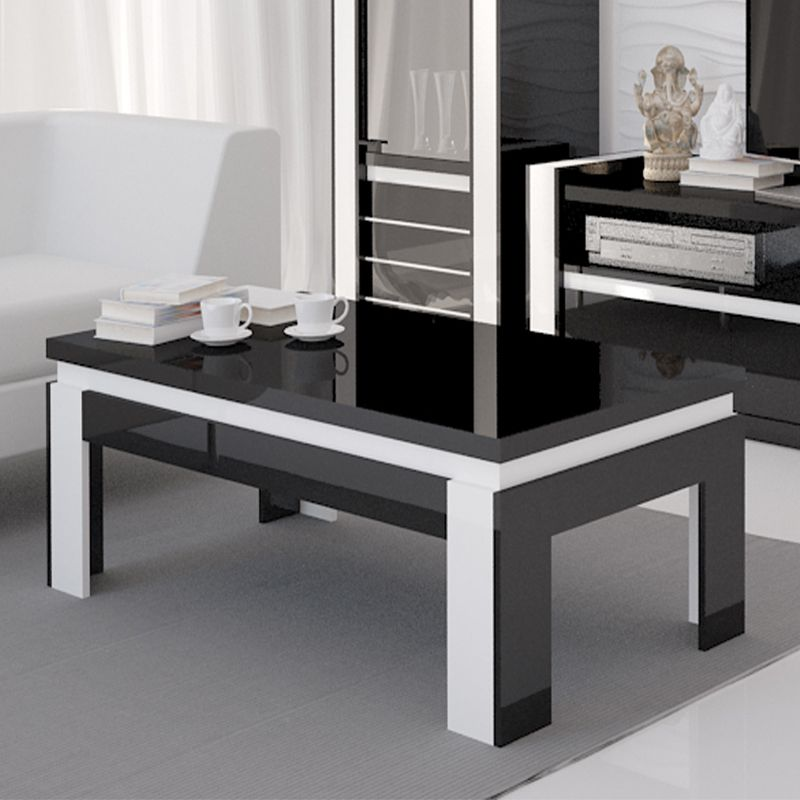 Table basse noir et blanc laqu design katarine bois for Table basse noir et blanc