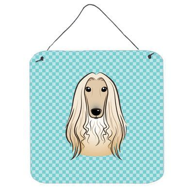 """Caroline's Treasures Checkerboard Afghan Hound by Denny Knight Graphic Art Plaque Size: 6"""" H x 6"""" W x 0.02"""" D"""