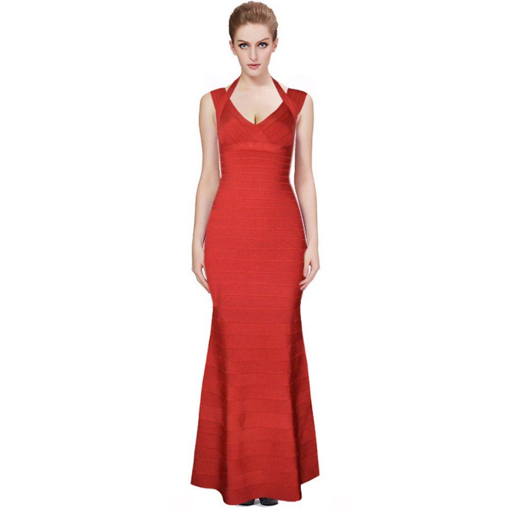 Frauen Lange Verbandkleid, Figurbetontes Kleid Bodenlangen Neueste ...