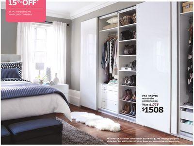PAX HASVIK wardrobe combination in the IKEA flyer - paint colour - reglage porte placard ikea