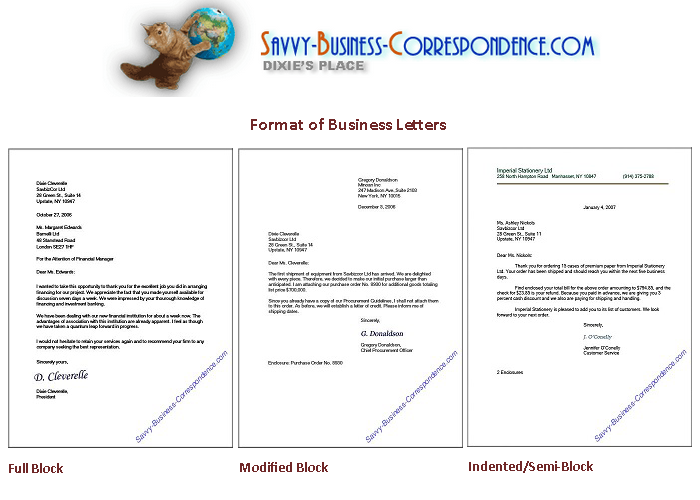 Business Letter Formats From HttpWwwSavvyBusiness