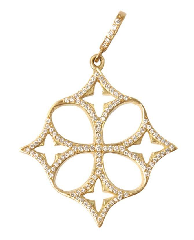Browns   LOREE RODKIN   Yellow Gold Open Quatrefoil Clover Cross Pendant
