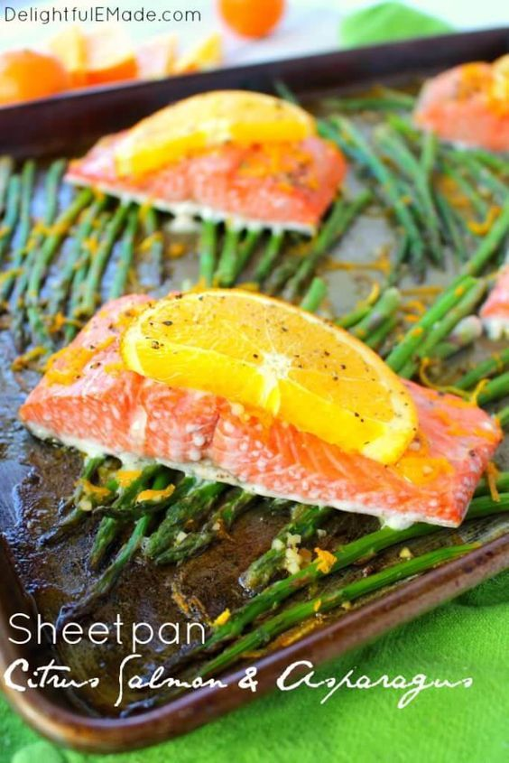 Sheet Pan Citrus Salmon and Asparagus by Delightful E Made |asy Sheet Pan Meal Ideas that Make Dinner Easy and Delicious!