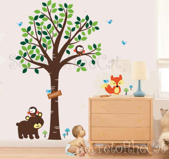 Tree Decal Nursery Forest Friends By Secretofthecat 96 00