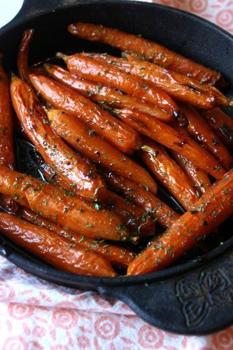 karotten offen rezepte zubereiten karamellisiert kräuter backen #thanksgivingfood