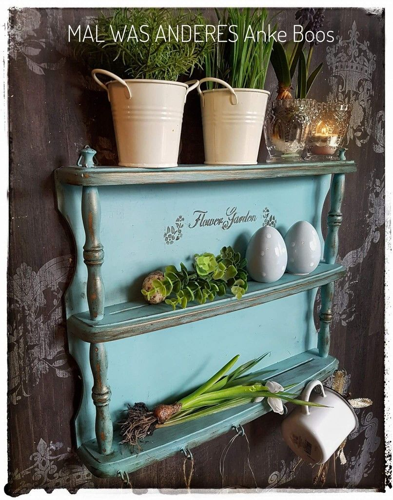 Kleines Frühlingsregal im shabby Chic - #Regal #küchenregal ...