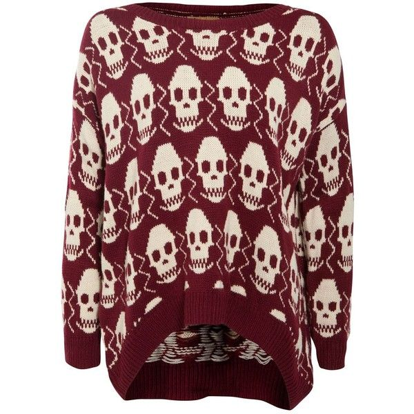 Misumi Dark Red Skull Print Oversize Knitted Jumper ($45) ❤ liked ...