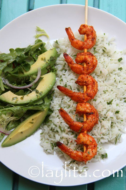 Grilled passion fruit shrimp skewers with cilantro rice and avocado salad