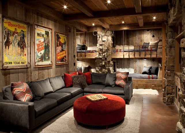 Living Room Family Room Rustic Mediaroom Rustic Mediaroom