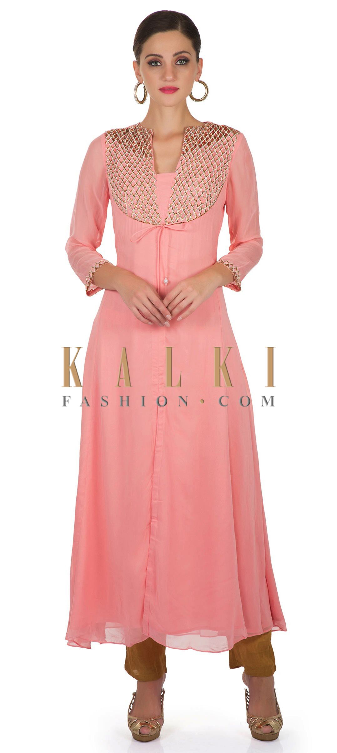 Pink Georgette Top Featuring Zardosi and String Tie Up Pattern ...