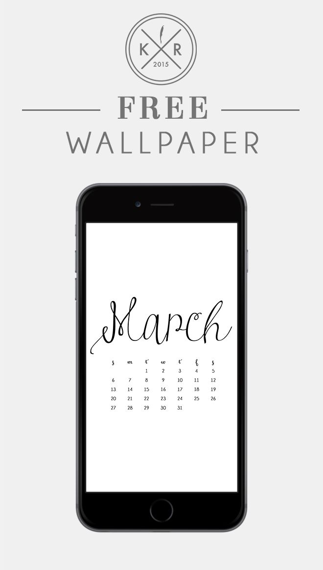 Typography Calendar Download : Classic white and black typography march calendar