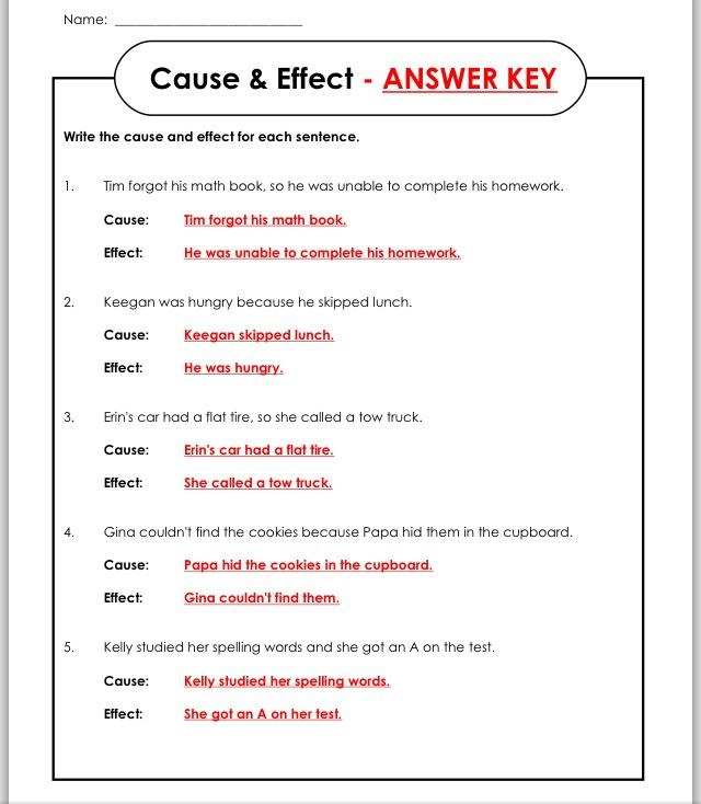Answer key Cause, effect worksheets, Cause, effect, Math