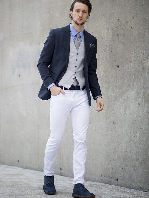 メンズファッションブログ, ファッションスーツ, 男性のファッション, ファッションブログ, スーツベスト, ホワイトデニム, 紳士スタイル,  男子スタイル,