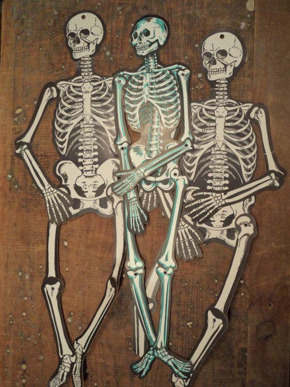 3 Vintage Beistle Co Die Cut Jointed Cardboard Halloween Skeletons Decorations