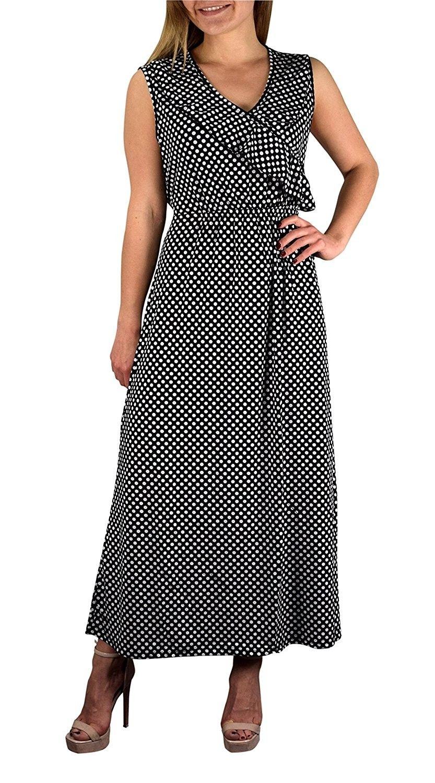 137257b33b5a Polka Dot Ruffled V Neck Sleeveless Empire Waist Summer Maxi Dress ...