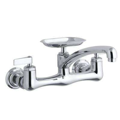 Clearwater 8 in. 2-Handle Wall-Mount Kitchen Faucet in Polished ...