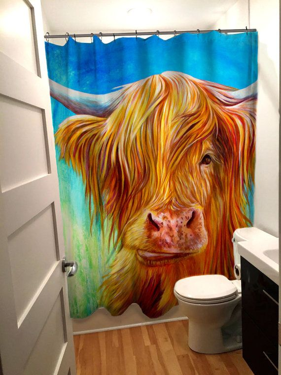 Fabulous Designer Highland Cow Shower Curtain Turquoise Green