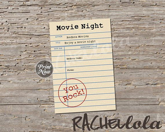 Library Card Redbox Code Movie Night Gift Tag Last Minute Gift