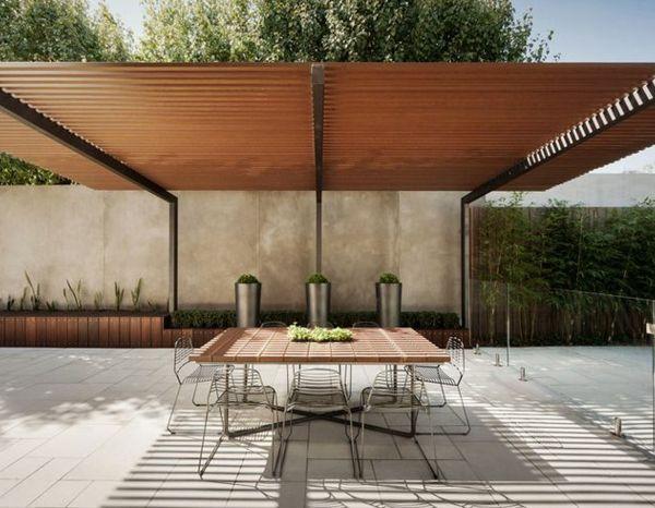 terrassenüberdachung-kleiner-tisch-daruner Interior Design - markisen fur balkon design ideen